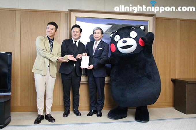 くりぃむしちゅー、1年にわたるチャリティイベント開催で集めた義援金1120万円を熊本県知事に届ける